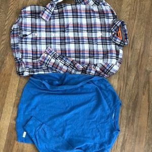 Bos size 12 gap flannel and crew neck thermal